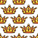 Cartoon emperor crowns seamless pattern Stock Images