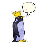 Cartoon emperor penguin with speech bubble Royalty Free Stock Image