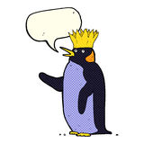 Cartoon emperor penguin waving with speech bubble Royalty Free Stock Image