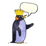 Cartoon emperor penguin waving with speech bubble stock illustration