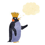 Cartoon emperor penguin waving with thought bubble Stock Photography