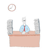 Cartoon employee with lots of work on desk Royalty Free Stock Images