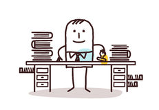 Cartoon employee man working at his desk Royalty Free Stock Images