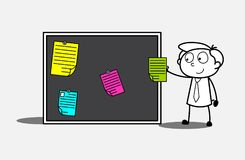 Cartoon Employee Putting Colored Notes on Notice Board Royalty Free Stock Photos