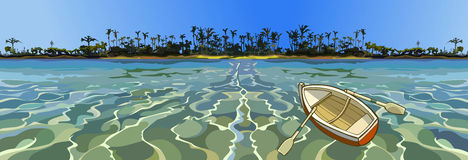 Cartoon empty boat floating in the sea off tropical coast. With palm trees Stock Photo
