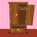 Cartoon empty open wardrobe, Living room wooden furniture Royalty Free Stock Photography
