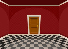 Cartoon empty room with a door in red style Royalty Free Stock Photos