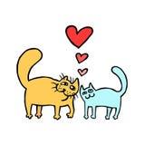 Cartoon Enamored Cats Vector Illustration  Royalty Free Stock Photos