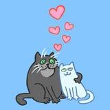 Cartoon Enamored Cats Vector Illustration  Royalty Free Stock Photo