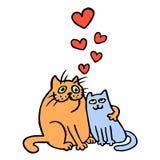 Cartoon Enamored Cats Vector Illustration  Royalty Free Stock Image
