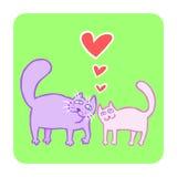 Cartoon Enamored Cats Vector Illustration  Stock Photography