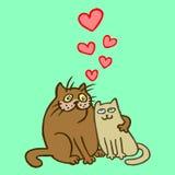 Cartoon Enamored Cats Vector Illustration Stock Image