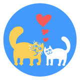 Cartoon Enamored Cats Vector Illustration  Stock Images