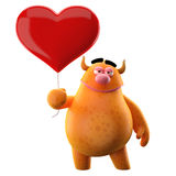 Cartoon enamored message. Cute 3D character with a balloon in the shape of heart vector illustration