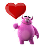 Cartoon enamored message. Cute 3D character with a balloon in the shape of heart Stock Photography