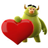 Cartoon enamored message. Cute 3D character, 3D love cuddly cartoon character with big red heart Royalty Free Stock Image