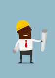 Cartoon engineer or builder with blueprints Stock Images