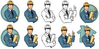 Cartoon engineer, engineer logo. Vector artwork vector illustration