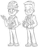 Cartoon engineer and photographer character vector set Royalty Free Stock Photography