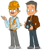 Cartoon engineer and photographer characters set Royalty Free Stock Images