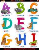 Cartoon english alphabet with animals Royalty Free Stock Images