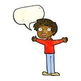 Cartoon enthusiastic man with speech bubble Stock Photography