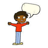 Cartoon enthusiastic man with speech bubble Stock Images