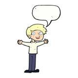 Cartoon enthusiastic man with speech bubble Royalty Free Stock Photos