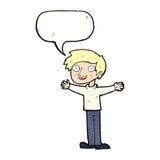 Cartoon enthusiastic man with speech bubble Stock Photos