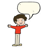 Cartoon enthusiastic man with speech bubble Stock Photo