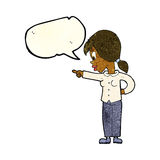 cartoon enthusiastic woman pointing with speech bubble Royalty Free Stock Image