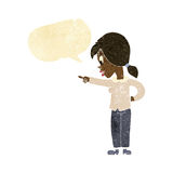 cartoon enthusiastic woman pointing with speech bubble Royalty Free Stock Photography