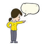 Cartoon enthusiastic woman pointing with speech bubble Royalty Free Stock Photo