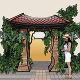 Cartoon entrance with a roof with a signboard overgrown plants Stock Images