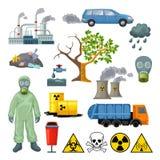 Cartoon Environmental Pollution Icons Set Stock Photo