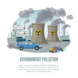 Cartoon Environmental Pollution Template. With car factory nuclear power plant and waste vector illustration royalty free illustration