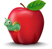 Cartoon eorm in the apple Royalty Free Stock Photo