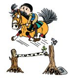 Cartoon equestrian pony jumping over obstacle stock illustration