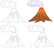 Cartoon erupting volcano. Vector illustration. Coloring and dot. To dot educational game for kids Royalty Free Stock Photography