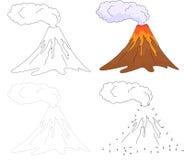 Cartoon erupting volcano. Vector illustration. Dot to dot game f Stock Photography