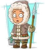 Cartoon eskimo boy with spear and fish Royalty Free Stock Photo