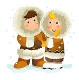 Cartoon eskimo pair Stock Images