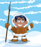 Cartoon eskimo with a spear. And a fish. Blue sky and snow behind Stock Images