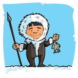 Cartoon eskimo with a spear and a fish. Blue sky and snow behind Stock Photos