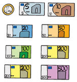Cartoon Euro Bills and Coin. A collection of euro bill and coin denominations Stock Image