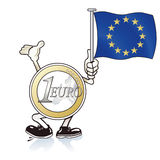 Cartoon Euro coin waving flag. Cartoon illustration of Euro coin figure waving European flag for help, white background Stock Photography