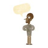 Cartoon evil bald man with speech bubble Stock Image