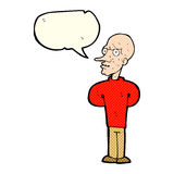 Cartoon evil bald man with speech bubble Royalty Free Stock Photography
