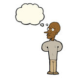 Cartoon evil bald man with thought bubble Stock Images