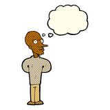 Cartoon evil bald man with thought bubble Royalty Free Stock Photo